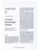Control Post Merger Change