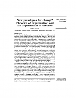 New paradigms for change – theories of org
