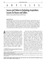 Success and Failure in Technology Acquisitions